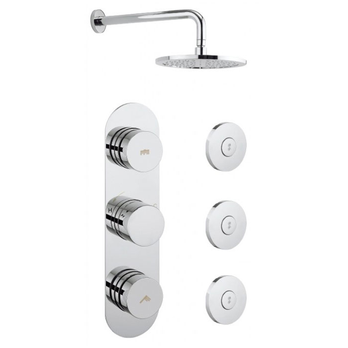 Crosswater - Dial Central 2 Control Shower Valve with 3 Body Jets, Fixed Head & Arm Large Image