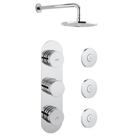 Crosswater - Dial Central 2 Control Shower Valve with 3 Body Jets, Fixed Head & Arm