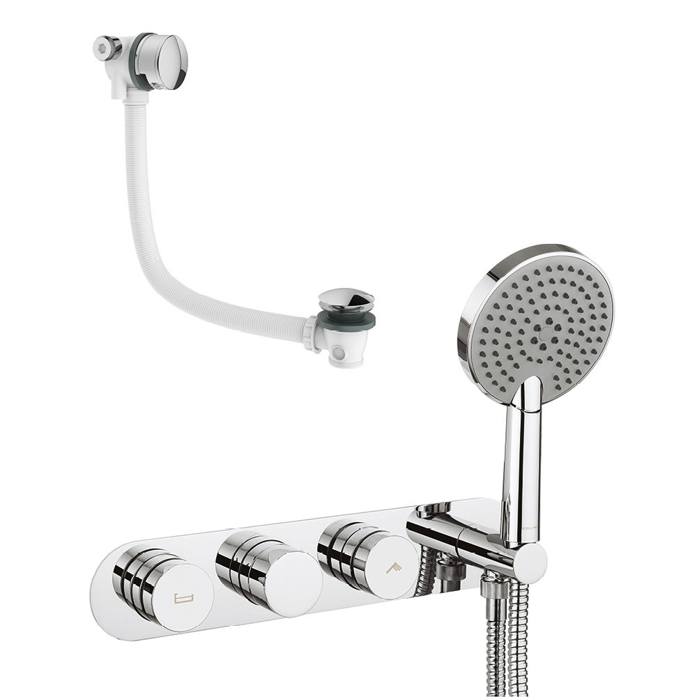 Crosswater - Dial Central 2 Control Bath Valve with 3 Mode Handset and Bath Filler Waste profile large image view 1