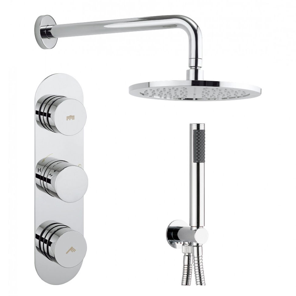 Crosswater - Dial Central 2 Control Shower Valve with Single Mode Handset, Fixed Head & Arm profile large image view 1