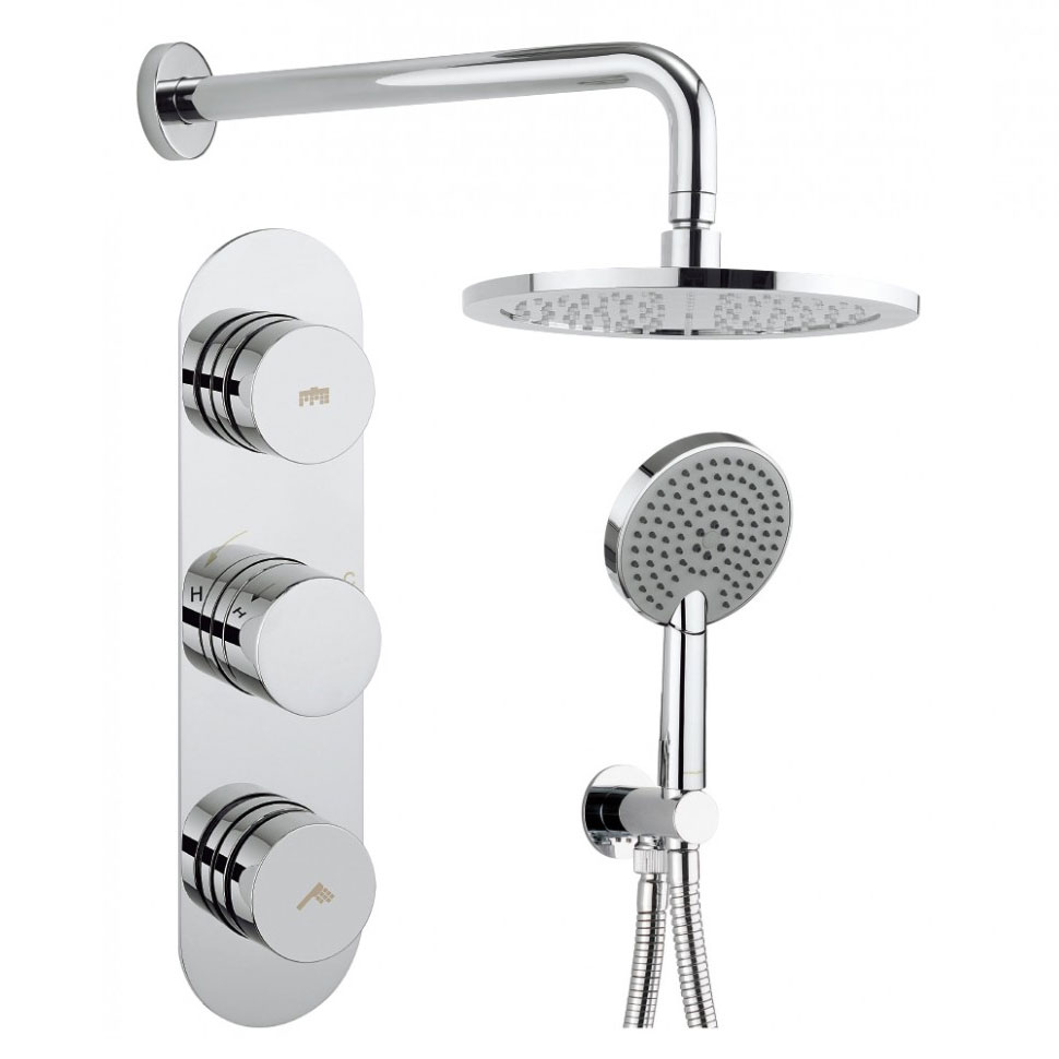 Crosswater - Dial Central 2 Control Shower Valve with 3 Mode Handset, Fixed Head & Arm Large Image