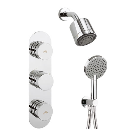 Crosswater Dial Central 2 Control Shower Valve with 3 Mode Handset, Reflex Head & Arm