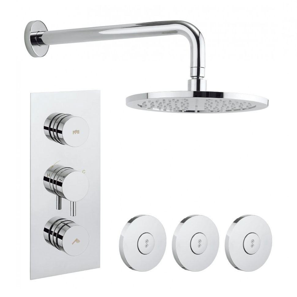 Crosswater - Dial Kai Lever 2 Control Shower Valve with 3 Body Jets, Fixed Head & Arm Large Image