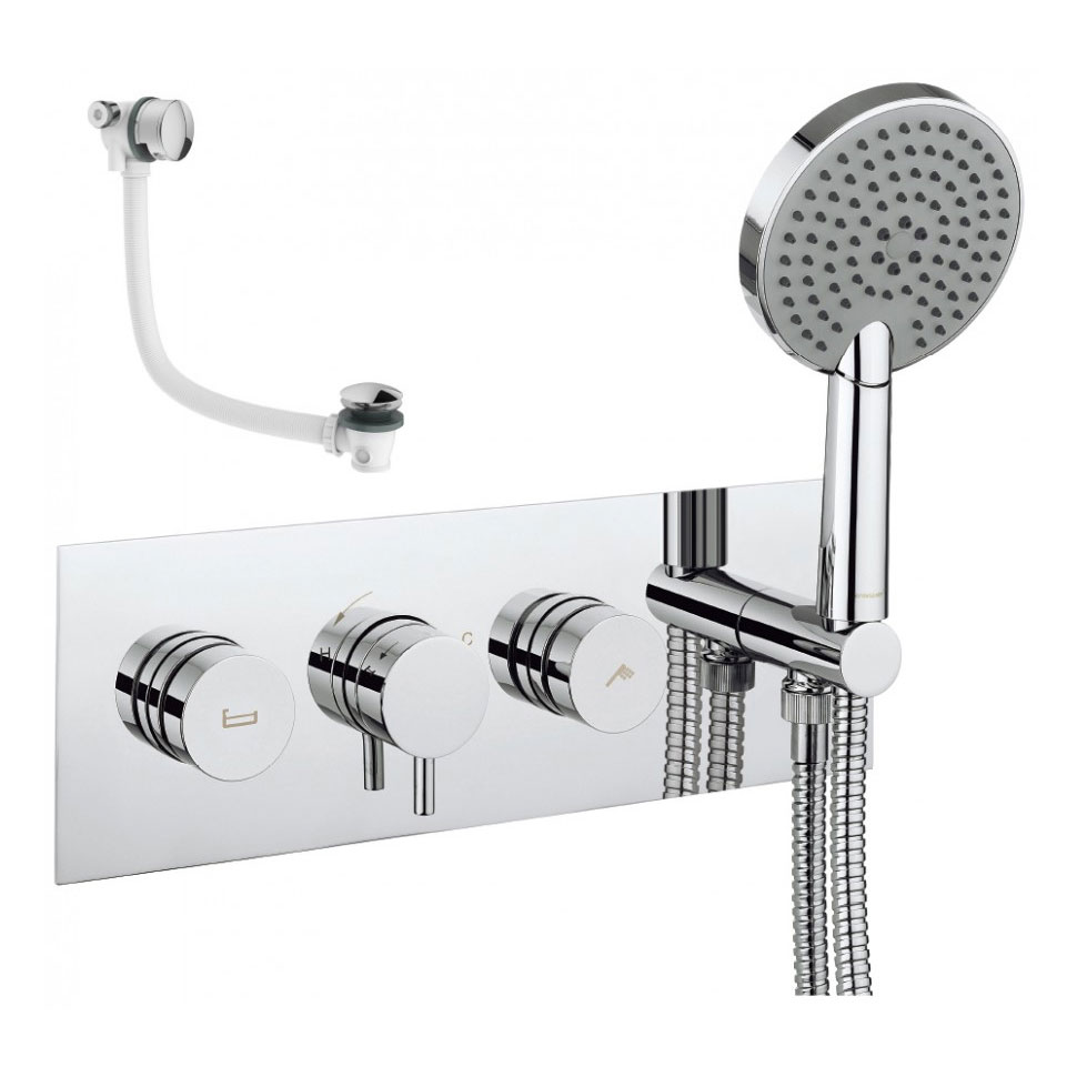 Crosswater - Dial Kai Lever 2 Control Bath Valve with 3 Mode Handset and Bath Filler Waste Large Image