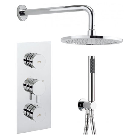 Crosswater - Dial Kai Lever 2 Control Shower Valve with Single Mode Handset, Fixed Head & Arm