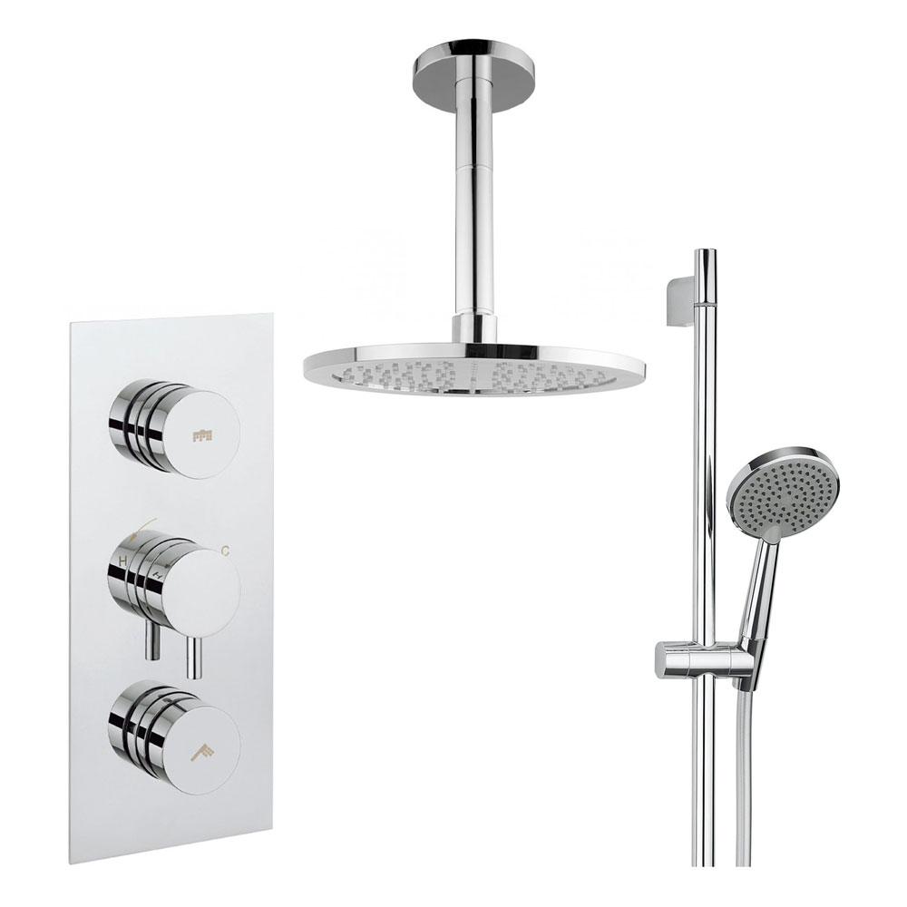 Crosswater - Dial Kai Lever 2 Control Shower Valve with Shower Kit, Fixed Head & Ceiling Arm profile large image view 1