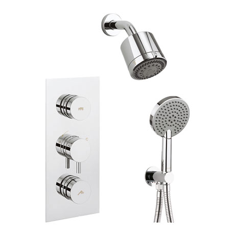 Crosswater Dial Kai Lever 2 Control Shower Valve with 3 Mode Handset, Reflex Head & Arm