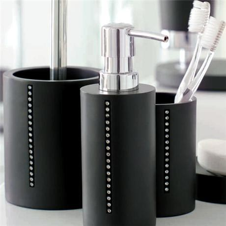 surprising black silver bathroom accessories | Wenko Diamond Bath Accessories Set - Black at Victorian ...