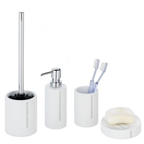 Wenko Diamond Bathroom Accessories Set White At Victorian Plumbing Uk