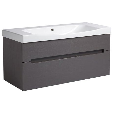 Roper Rhodes Diverge 1000mm Wall Mounted Unit - Charcoal Elm