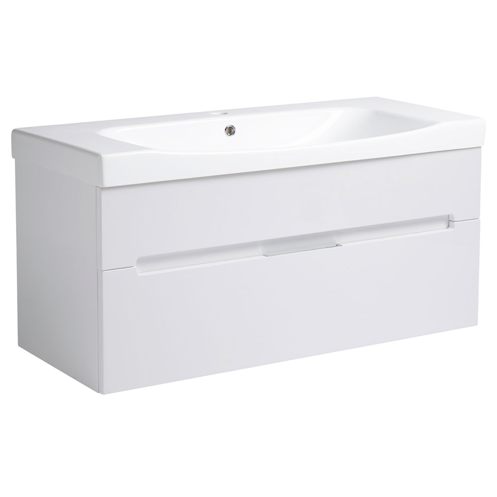 Roper Rhodes Diverge 1000mm Wall Mounted Unit - Gloss White Large Image