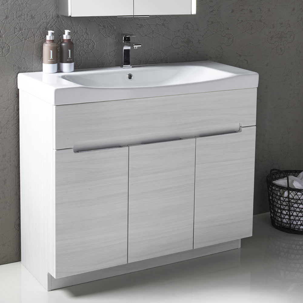 Roper Rhodes Diverge 1000mm Freestanding Unit - Gloss White Profile Large Image