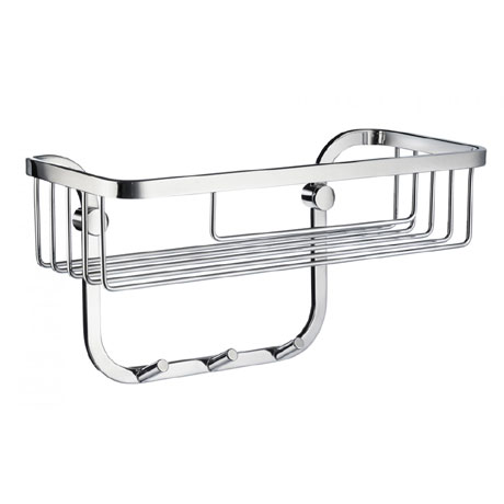 Smedbo Sideline Shower Basket with 3 Hooks - Polished Chrome - DK2006