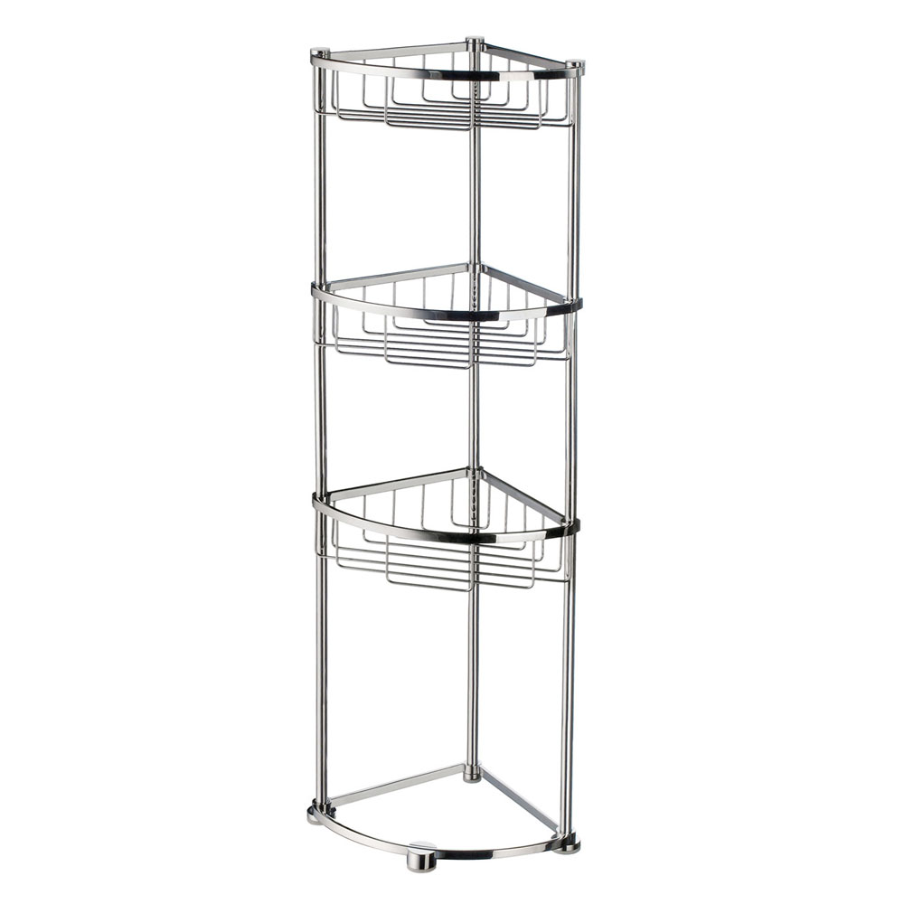 Smedbo Sideline Freestanding 3-Tier Corner Soap Basket - Polished Chrome - DK2051 Large Image