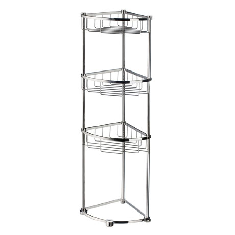 Smedbo Sideline Freestanding 3-Tier Corner Soap Basket - Polished Chrome - DK2051