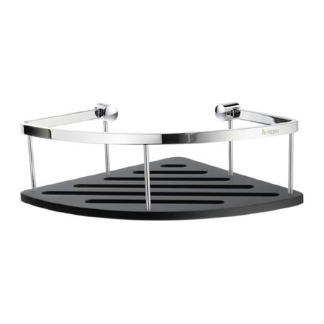 Smedbo Sideline Corner Soap Basket - Polished Chrome / Black - DK3033