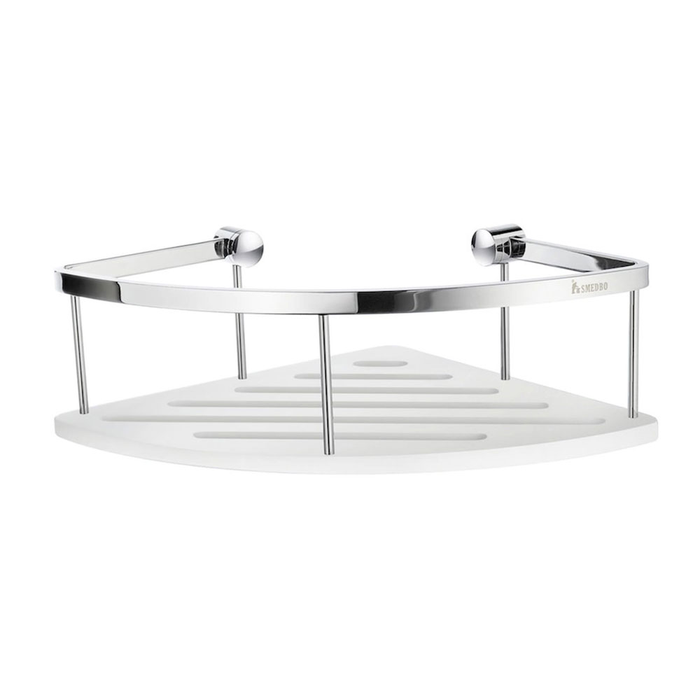 Smedbo Sideline Corner Soap Basket - Polished Chrome / White - DK3034 profile large image view 1