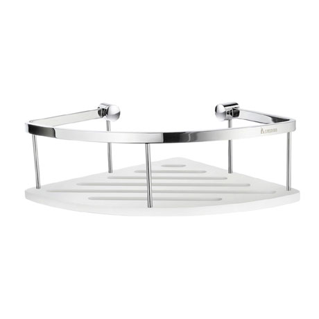 Smedbo Sideline Corner Soap Basket - Polished Chrome / White - DK3034