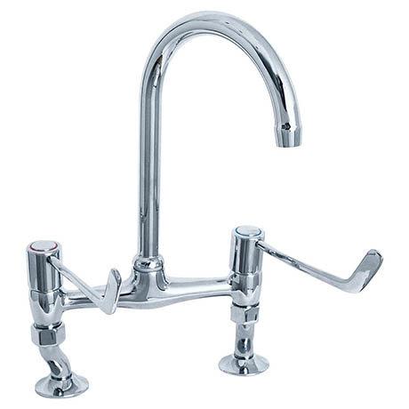 "Deva - 6"" Lever Bridge Sink Mixer with Adjustable centres - DLV305B"