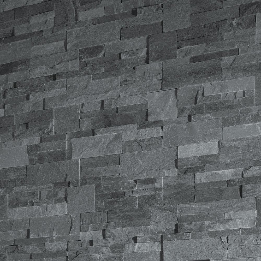 Juno Black Stone Split Face Tiles 180 x 350mm  Profile Large Image