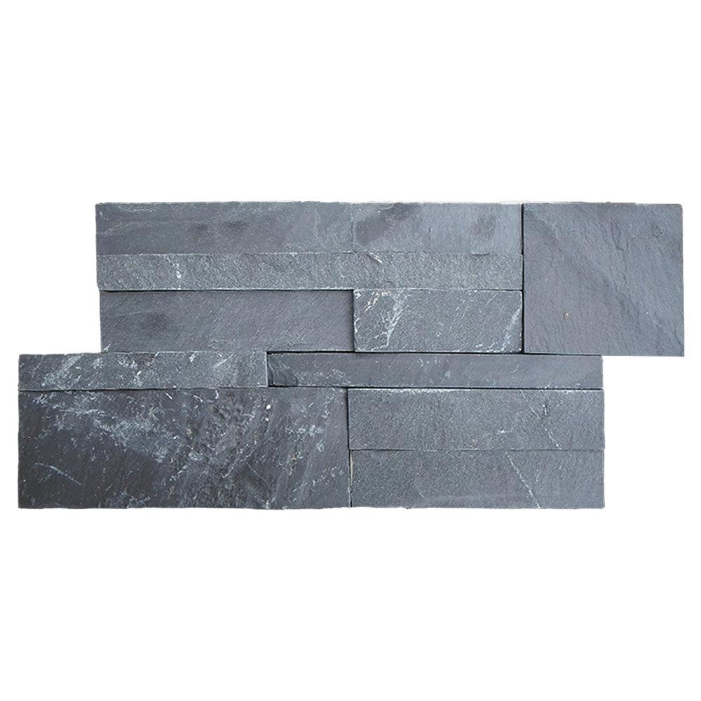 Juno Black Stone Split Face Tiles 180 x 350mm Large Image