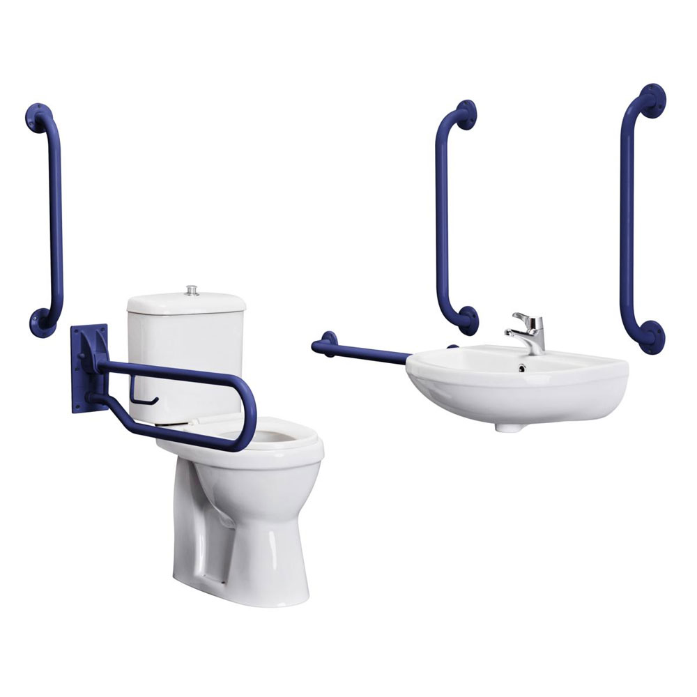 Bristan - DocM Close Coupled WC Pack with TMV3 Thermostatic Basin Mixer Tap - Blue Aluminium - DOCM-T1-B profile large image view 1