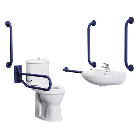Bristan - DocM Close Coupled WC Pack with TMV3 Thermostatic Basin Mixer Tap - Blue Aluminium - DOCM-