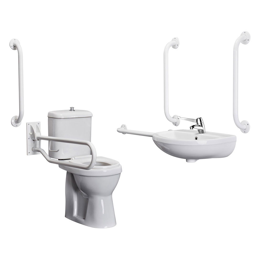 Bristan - DocM Close Coupled WC Pack with TMV3 Thermostatic Basin Mixer Tap - White Aluminium - DOCM-T1-W Large Image