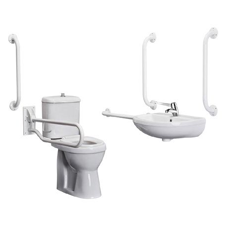 Bristan - DocM Close Coupled WC Pack with TMV3 Thermostatic Basin Mixer Tap - White Aluminium - DOCM-T1-W