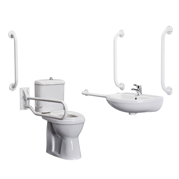 Premier - Doc M Pack - Disabled Bathroom Toilet, Basin and Grab Rails - White profile large image view 2