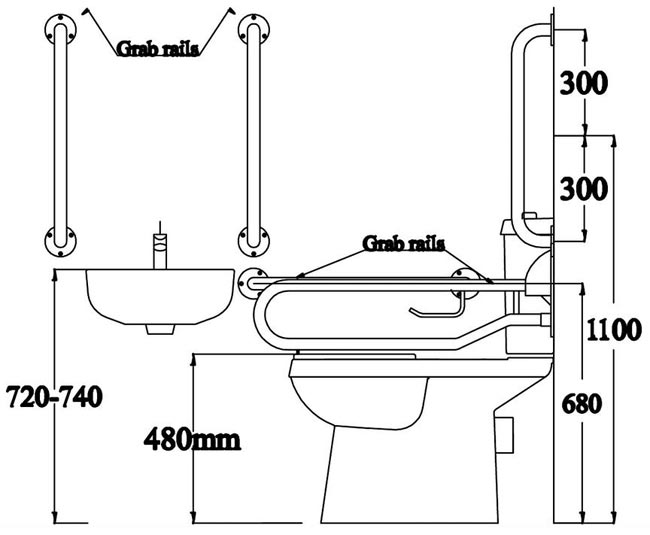 Height of WC pan   seat combined   500mm. Premier   Doc M Pack   Disabled Bathroom Toilet  Basin and Grab