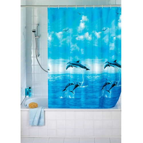 Wenko Dolphin PEVA Shower Curtain - W1800 x H2000mm - 19125100 Large Image