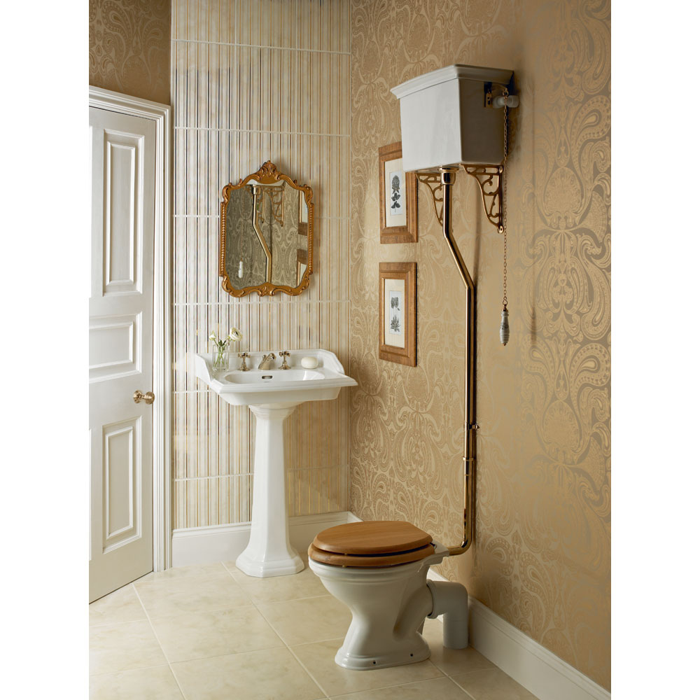 Heritage - Dorchester High-level WC & Chrome Flush Pack profile large image view 2