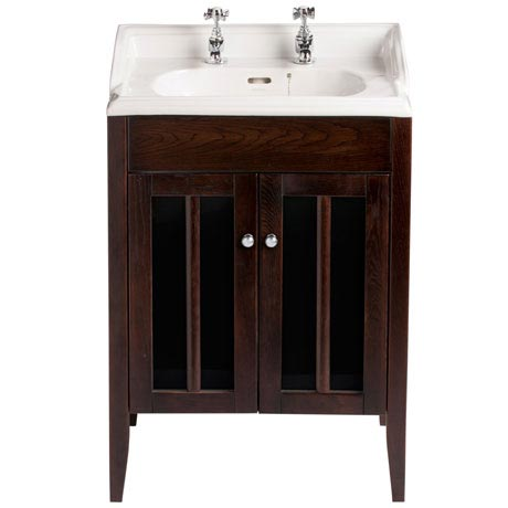 Heritage - Hidcote Freestanding Dorchester Square Vanity Unit with Chrome Handles & Basin - Walnut