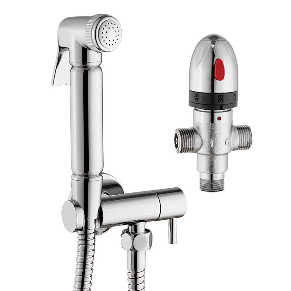 Cruze Modern Thermostatic Douche Shower Spray Kit with Shut Off Valve + Hose