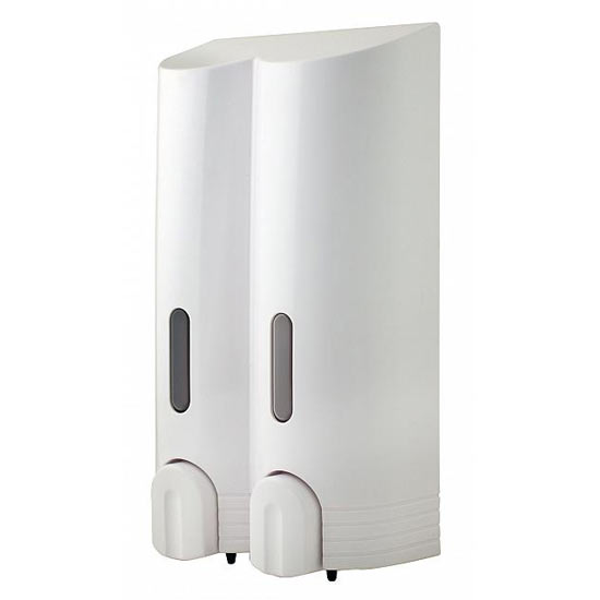 Euroshowers - Tall Double Liquid Dispenser - White - 89810 profile large image view 1