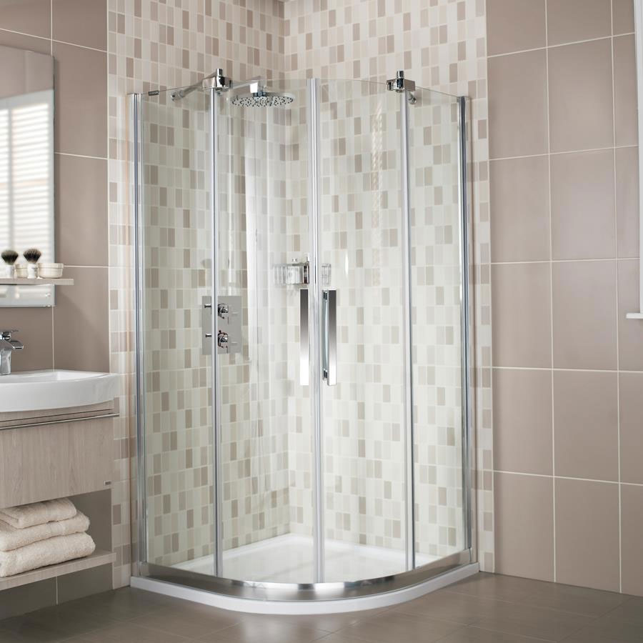 Roman Desire 8mm Frameless Luxury Quadrant Shower Enclosure - 900 x 900mm Large Image