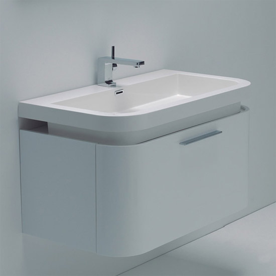Durab sienna white 900 wall mounted vanity unit with basin