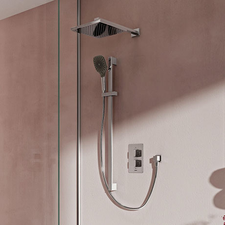 Aqualisa Dream Square Thermostatic Mixer Shower with Adjustable and Wall Fixed Heads - DRMDCV2.ADFW.