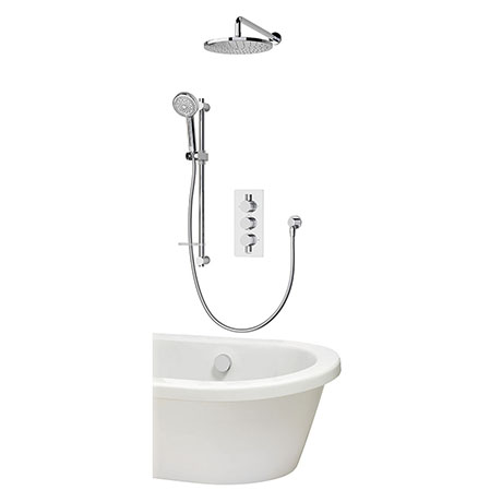 Aqualisa Dream Round Thermostatic Mixer Shower with Adjustable Head, Wall Fixed Head and Bath Fill -