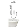 Aqualisa Dream Round Thermostatic Mixer Shower with Adjustable Head, Wall Fixed Head and Bath Fill - DRMDCV3.ADFWBTX.RND profile small image view 1