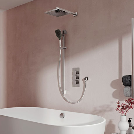 Aqualisa Dream Square Thermostatic Mixer Shower with Adjustable Head, Wall Fixed Head and Bath Fill