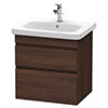 Duravit DuraStyle 650mm 2-Drawer Wall Mounted Vanity Unit - Chestnut Dark profile small image view 1
