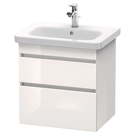 Duravit DuraStyle 650mm 2-Drawer Wall Mounted Vanity Unit - White High Gloss