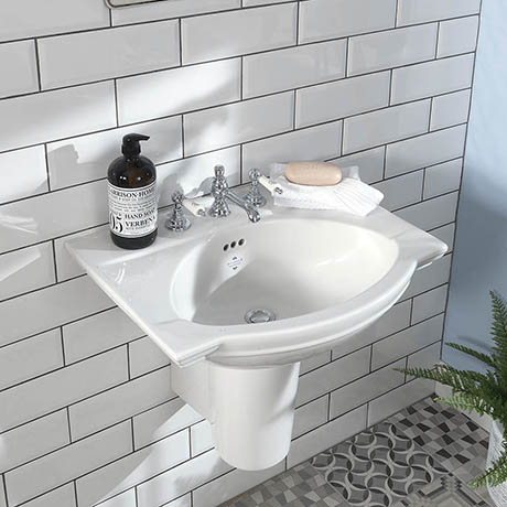 Silverdale Damea 650mm Wide Basin with Semi-Pedestal