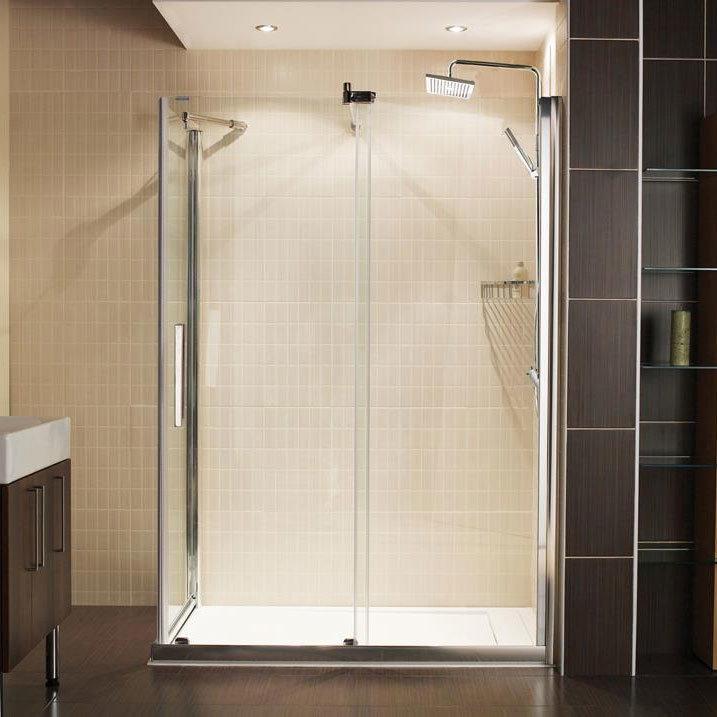 Roman Desire Frameless Sliding Shower Door with Side Panel Large Image
