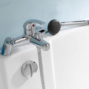 D-Type Single Lever Bath Shower Mixer - Chrome - DTY304 profile large image view 2
