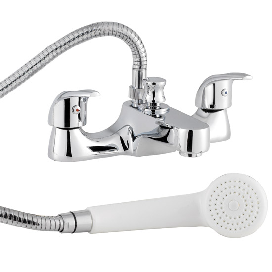 D-Type Bath Shower Mixer with Shower Kit - Chrome - DTY334 Large Image
