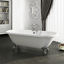 Duke 1695 Double Ended Roll Top Bath + Chrome Leg Set Medium Image