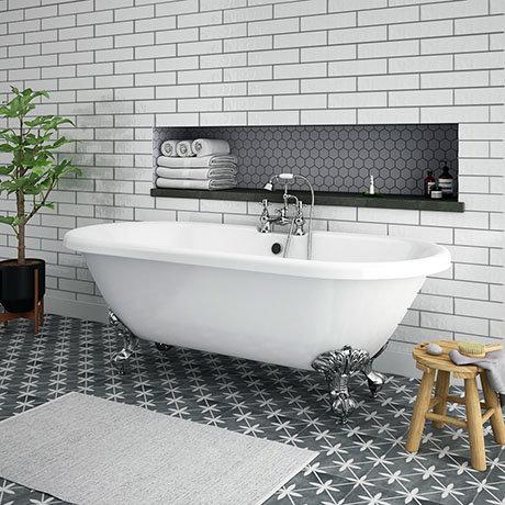 Duke 1695 Double Ended Roll Top Bath + Chrome Leg Set